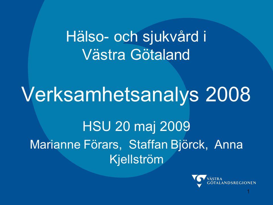 1 Hälso- och sjukvård i Västra Götaland Verksamhetsanalys 2008 HSU 20 maj 2009 Marianne Förars, Staffan Björck, Anna Kjellström