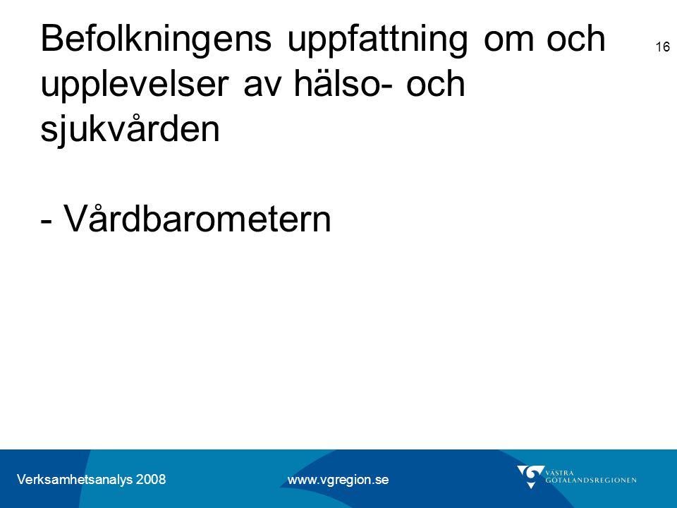 Verksamhetsanalys 2008 www.vgregion.se 16 Befolkningens uppfattning om och upplevelser av hälso- och sjukvården - Vårdbarometern