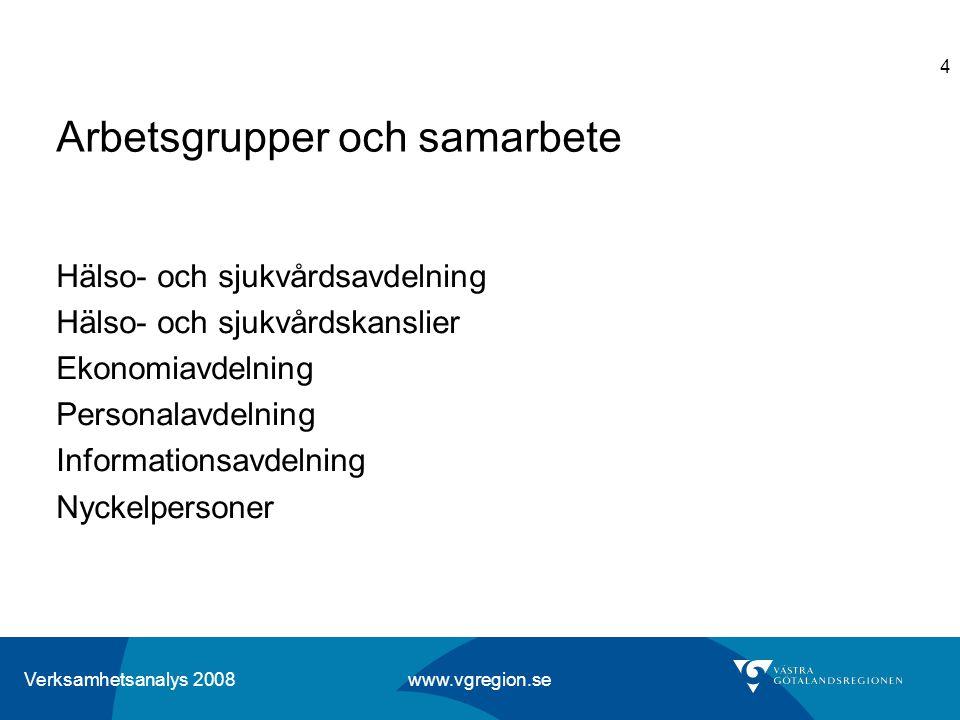 Verksamhetsanalys 2008 www.vgregion.se 4 Arbetsgrupper och samarbete Hälso- och sjukvårdsavdelning Hälso- och sjukvårdskanslier Ekonomiavdelning Perso