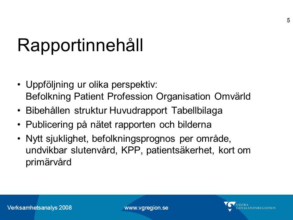Verksamhetsanalys 2008 www.vgregion.se 5 Rapportinnehåll Uppföljning ur olika perspektiv: Befolkning Patient Profession Organisation Omvärld Bibehålle