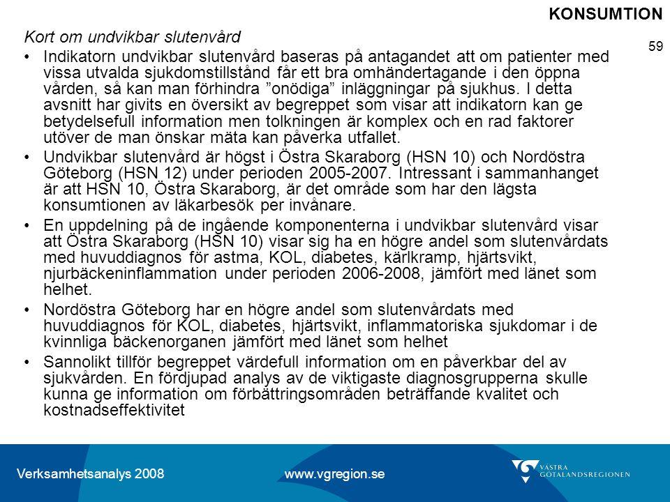 Verksamhetsanalys 2008 www.vgregion.se 59 Kort om undvikbar slutenvård Indikatorn undvikbar slutenvård baseras på antagandet att om patienter med viss