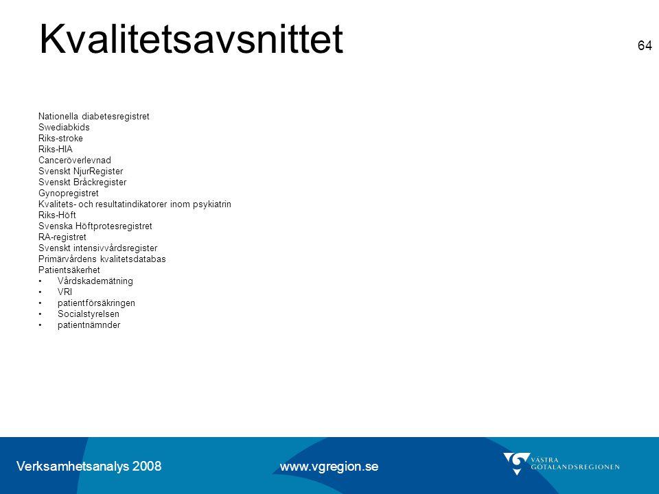Verksamhetsanalys 2008 www.vgregion.se 64 Kvalitetsavsnittet Nationella diabetesregistret Swediabkids Riks-stroke Riks-HIA Canceröverlevnad Svenskt Nj
