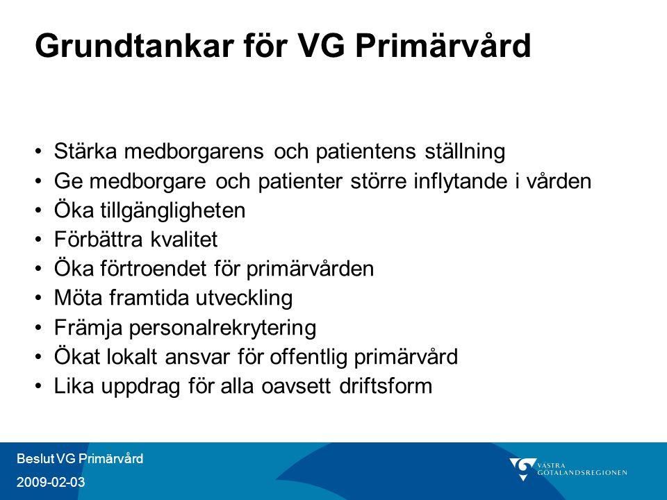 Beslut VG Primärvård 2009-02-03 Grundtankar för VG Primärvård Stärka medborgarens och patientens ställning Ge medborgare och patienter större inflytan