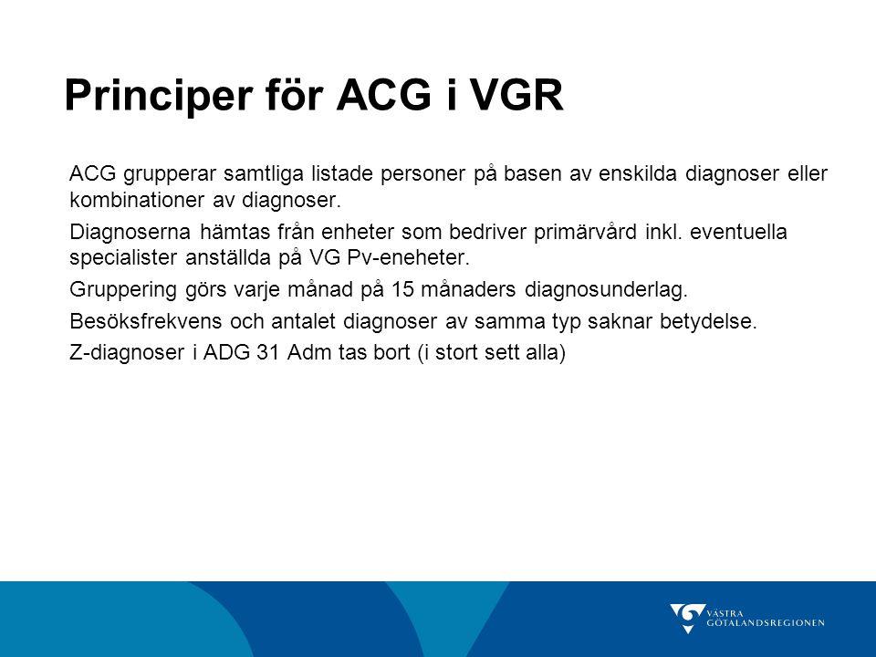 Principer för ACG i VGR ACG grupperar samtliga listade personer på basen av enskilda diagnoser eller kombinationer av diagnoser. Diagnoserna hämtas fr