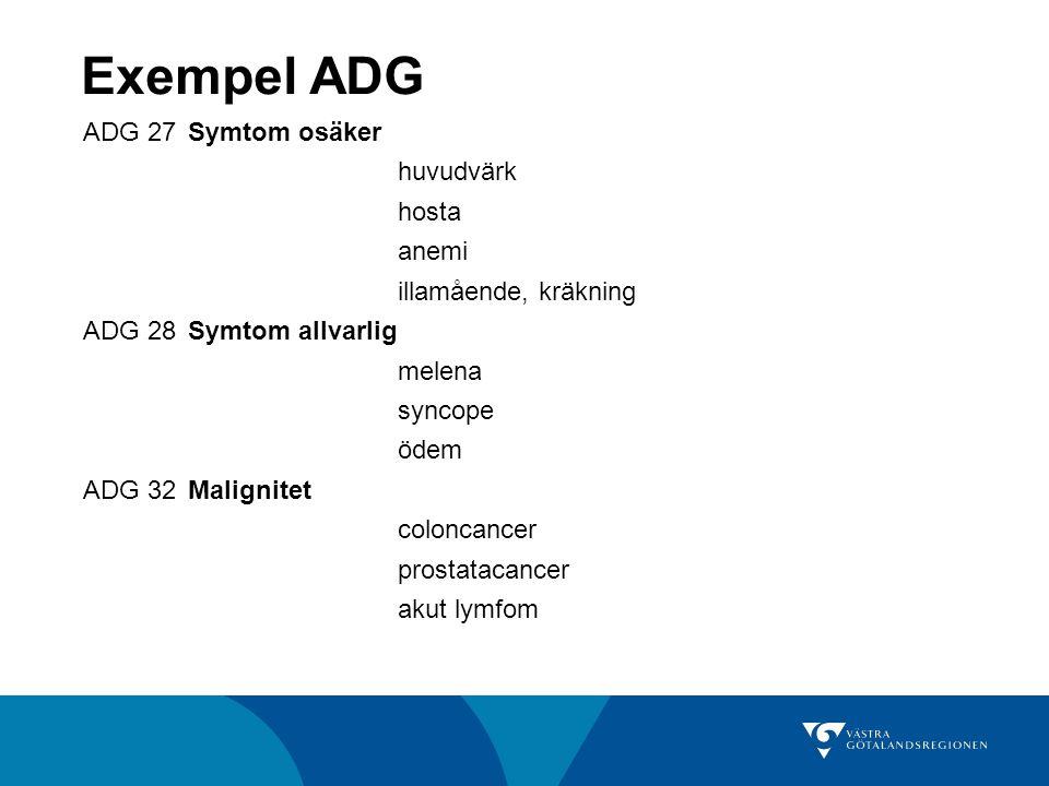 Exempel ADG ADG 27Symtom osäker huvudvärk hosta anemi illamående, kräkning ADG 28Symtom allvarlig melena syncope ödem ADG 32Malignitet coloncancer pro