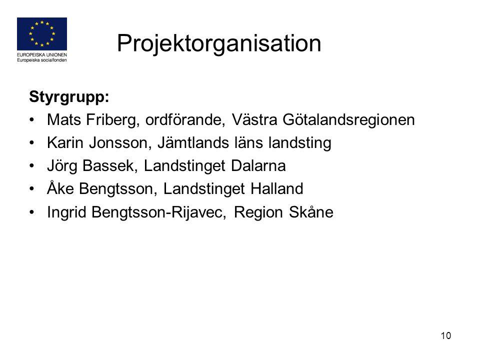 10 Styrgrupp: Mats Friberg, ordförande, Västra Götalandsregionen Karin Jonsson, Jämtlands läns landsting Jörg Bassek, Landstinget Dalarna Åke Bengtsso