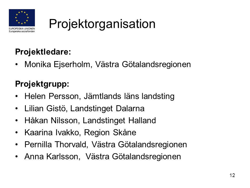 12 Projektorganisation Projektledare: Monika Ejserholm, Västra Götalandsregionen Projektgrupp: Helen Persson, Jämtlands läns landsting Lilian Gistö, L