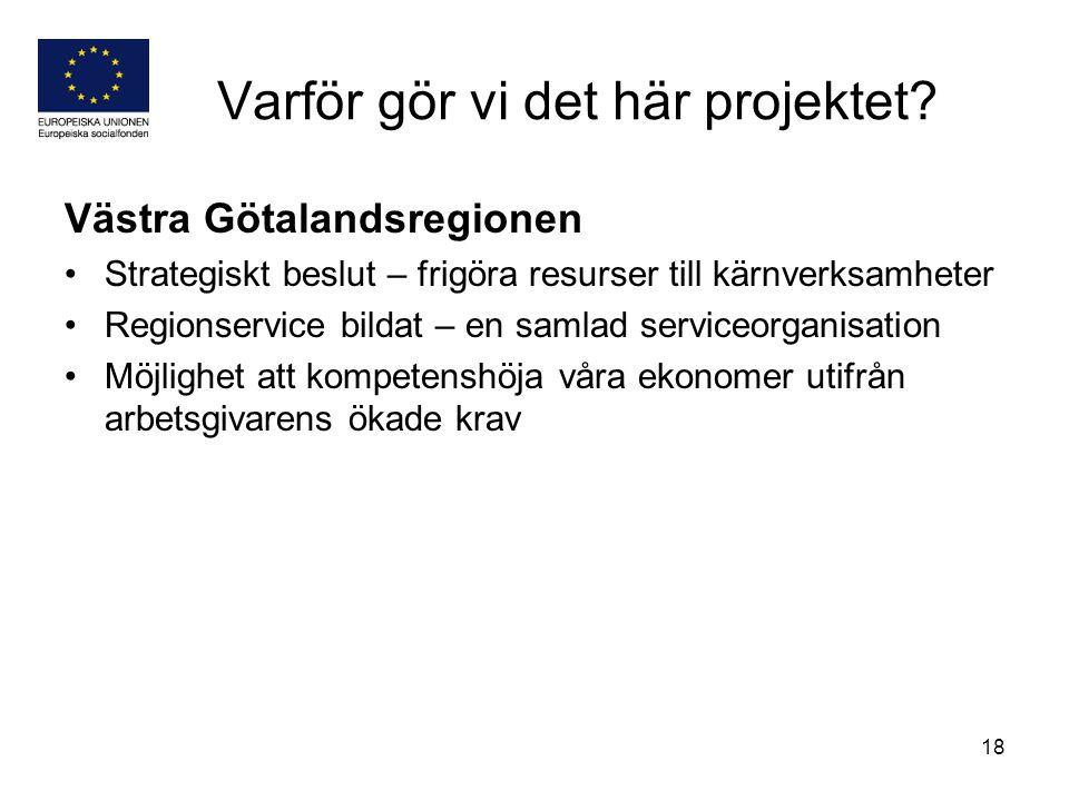 18 Varför gör vi det här projektet? Västra Götalandsregionen Strategiskt beslut – frigöra resurser till kärnverksamheter Regionservice bildat – en sam