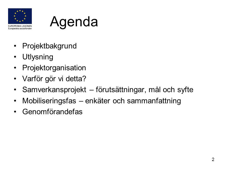 2 Agenda Projektbakgrund Utlysning Projektorganisation Varför gör vi detta? Samverkansprojekt – förutsättningar, mål och syfte Mobiliseringsfas – enkä