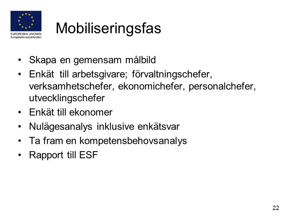 22 Mobiliseringsfas Skapa en gemensam målbild Enkät till arbetsgivare; förvaltningschefer, verksamhetschefer, ekonomichefer, personalchefer, utvecklin