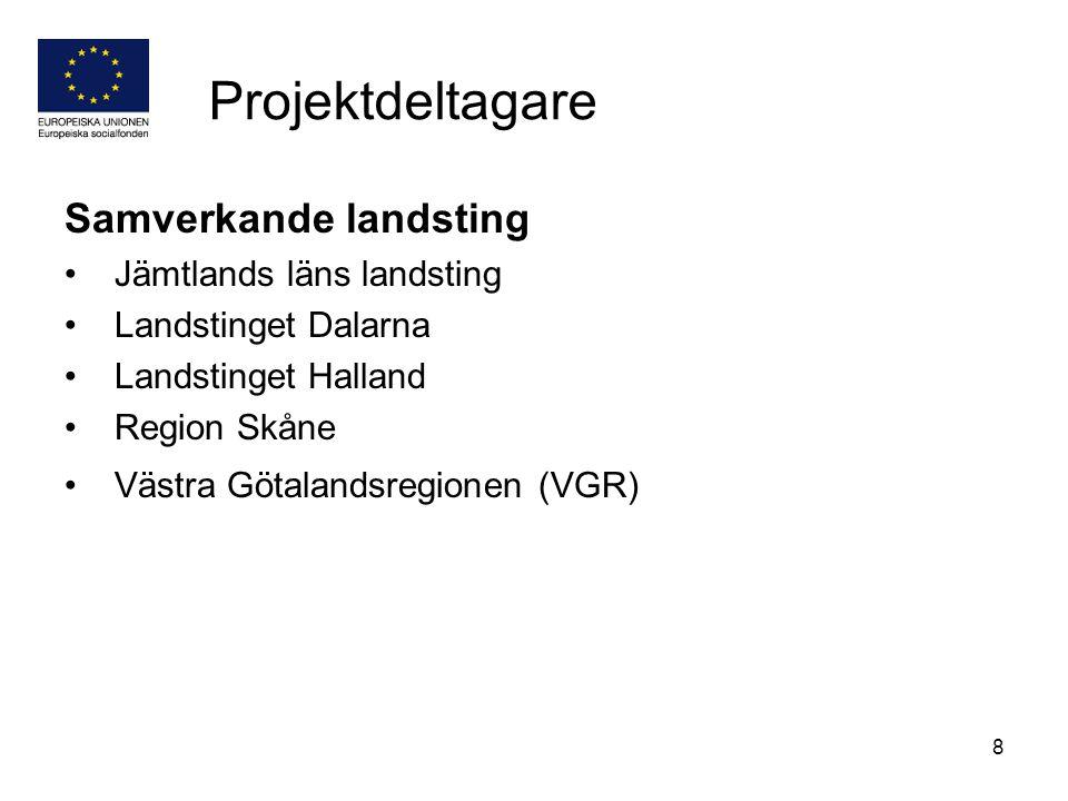 8 Projektdeltagare Samverkande landsting Jämtlands läns landsting Landstinget Dalarna Landstinget Halland Region Skåne Västra Götalandsregionen (VGR)