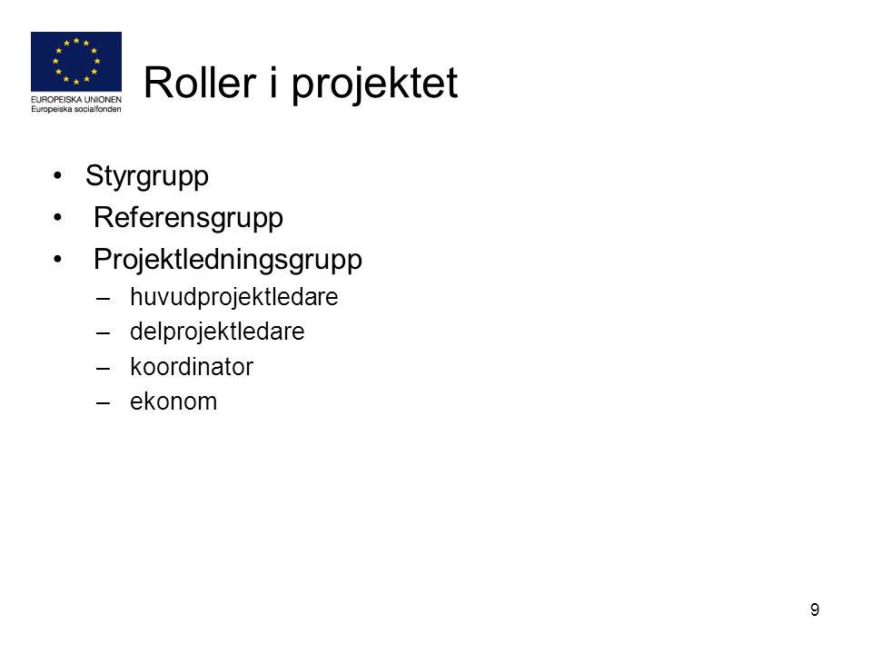 9 Roller i projektet Styrgrupp Referensgrupp Projektledningsgrupp – huvudprojektledare – delprojektledare – koordinator – ekonom