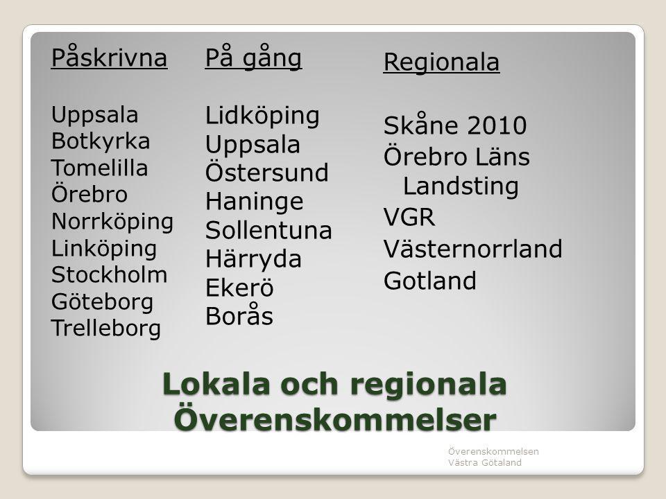Lokala och regionala Överenskommelser Påskrivna Uppsala Botkyrka Tomelilla Örebro Norrköping Linköping Stockholm Göteborg Trelleborg På gång Lidköping