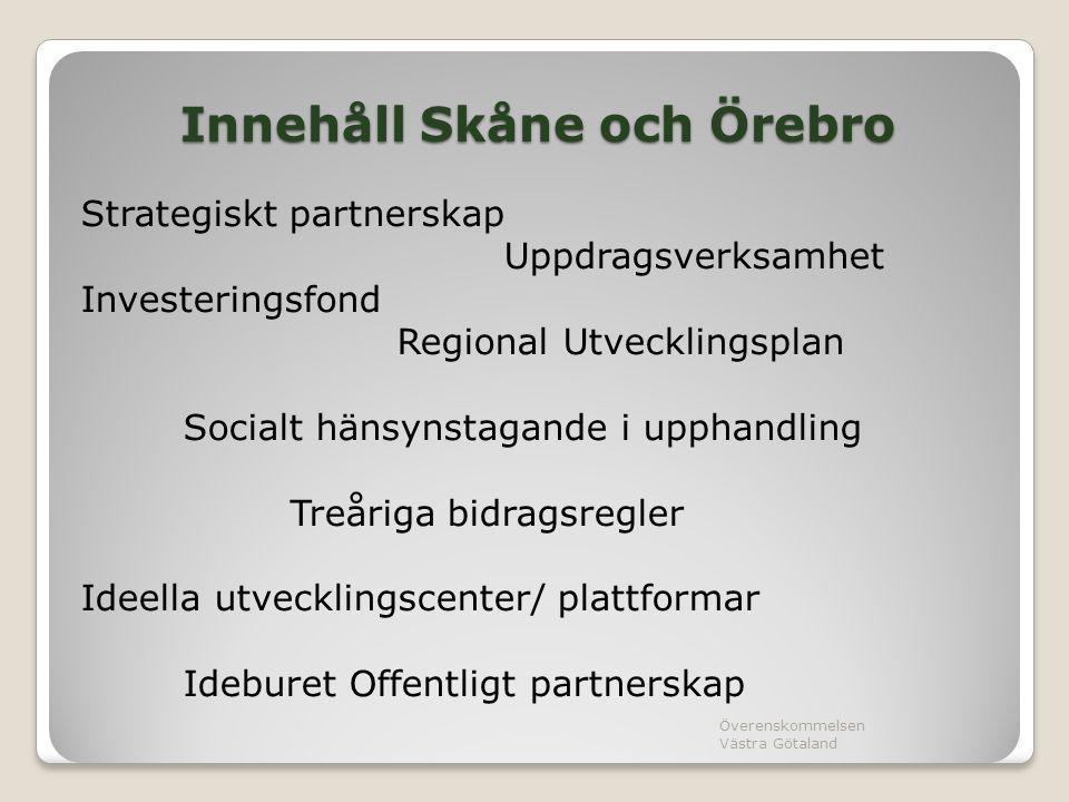 Innehåll Skåne och Örebro Strategiskt partnerskap Uppdragsverksamhet Investeringsfond Regional Utvecklingsplan Socialt hänsynstagande i upphandling Tr