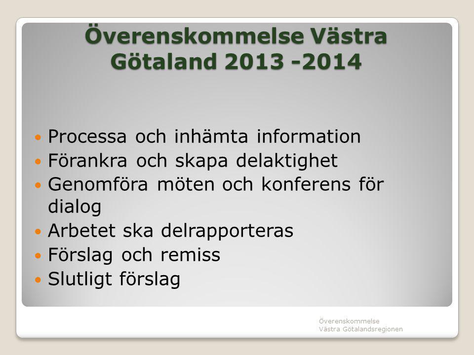 Överenskommelse Västra Götaland 2013 -2014 Processa och inhämta information Förankra och skapa delaktighet Genomföra möten och konferens för dialog Ar