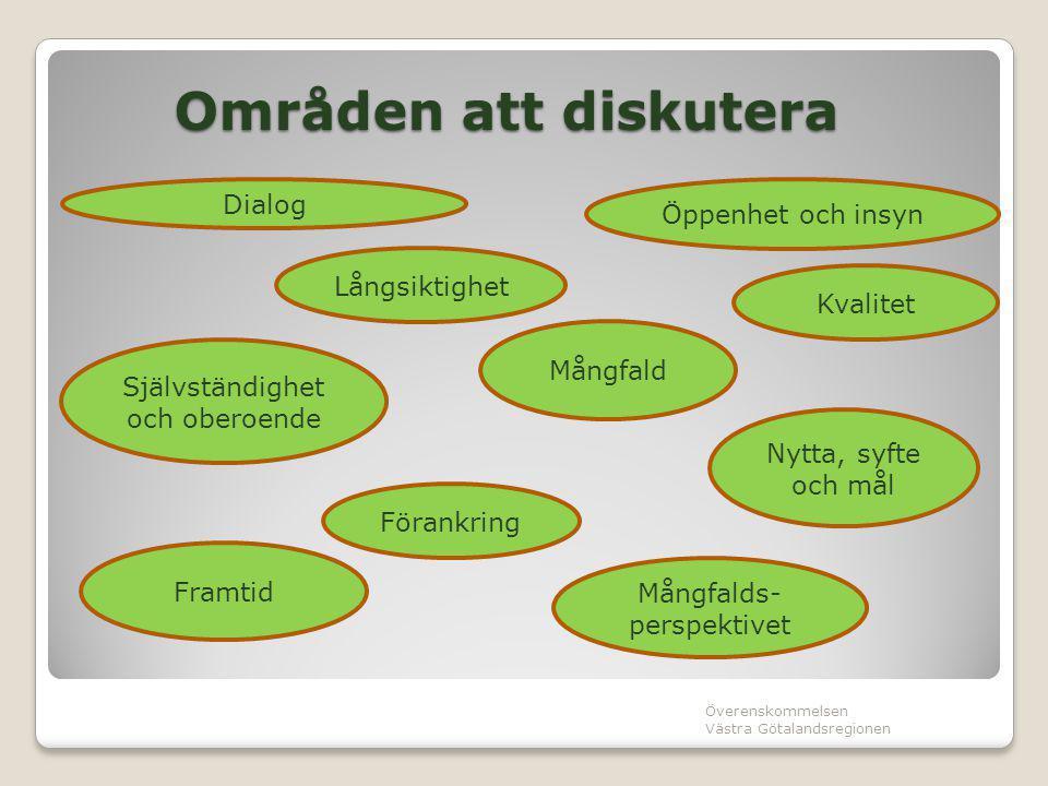 Områden att diskutera Överenskommelsen Västra Götalandsregionen Dialog Öppenhet och insyn Långsiktighet Mångfalds- perspektivet Självständighet och ob