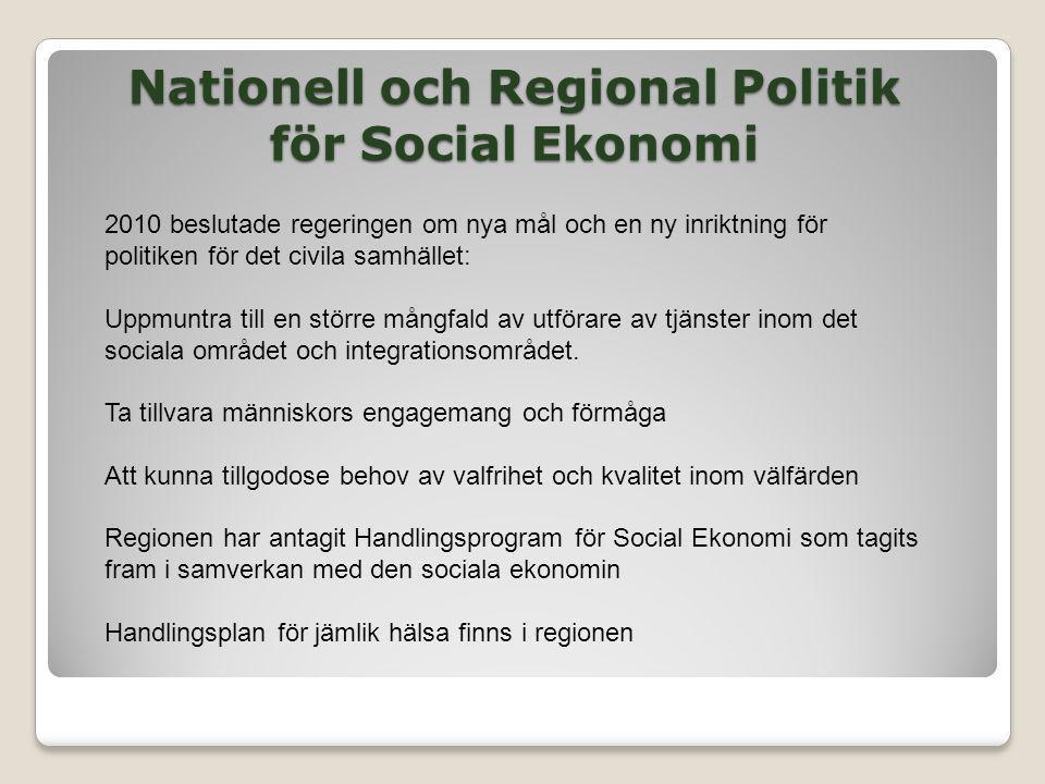 Nationell och Regional Politik för Social Ekonomi 2010 beslutade regeringen om nya mål och en ny inriktning för politiken för det civila samhället: Up