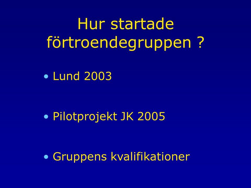 Hur startade förtroendegruppen ? Lund 2003 Pilotprojekt JK 2005 Gruppens kvalifikationer