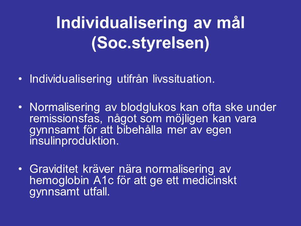 Individualisering av mål (Soc.styrelsen) Individualisering utifrån livssituation. Normalisering av blodglukos kan ofta ske under remissionsfas, något