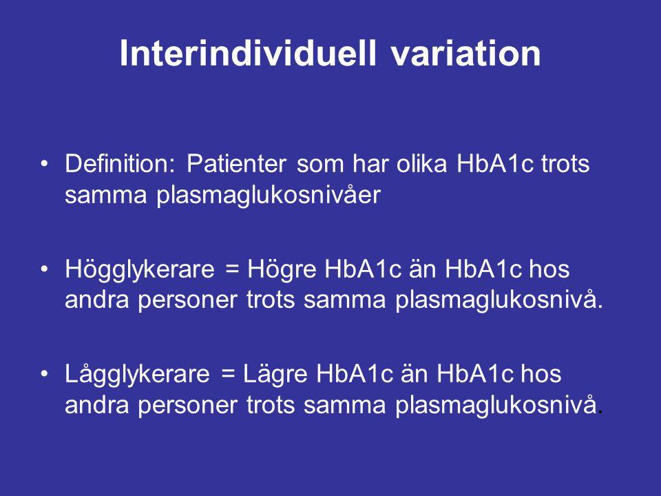Interindividuell variation Definition: Patienter som har olika HbA1c trots samma plasmaglukosnivåer Högglykerare = Högre HbA1c än HbA1c hos andra pers