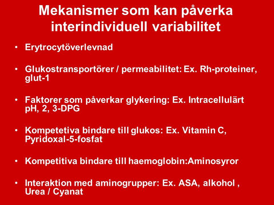 Mekanismer som kan påverka interindividuell variabilitet Erytrocytöverlevnad Glukostransportörer / permeabilitet: Ex. Rh-proteiner, glut-1 Faktorer so