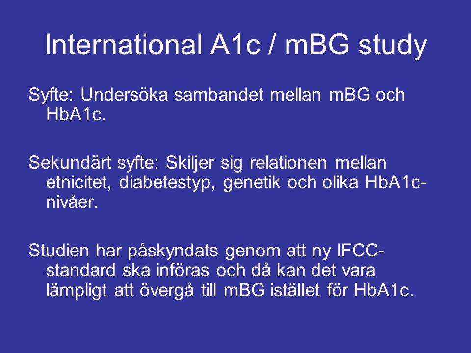 International A1c / mBG study Syfte: Undersöka sambandet mellan mBG och HbA1c. Sekundärt syfte: Skiljer sig relationen mellan etnicitet, diabetestyp,