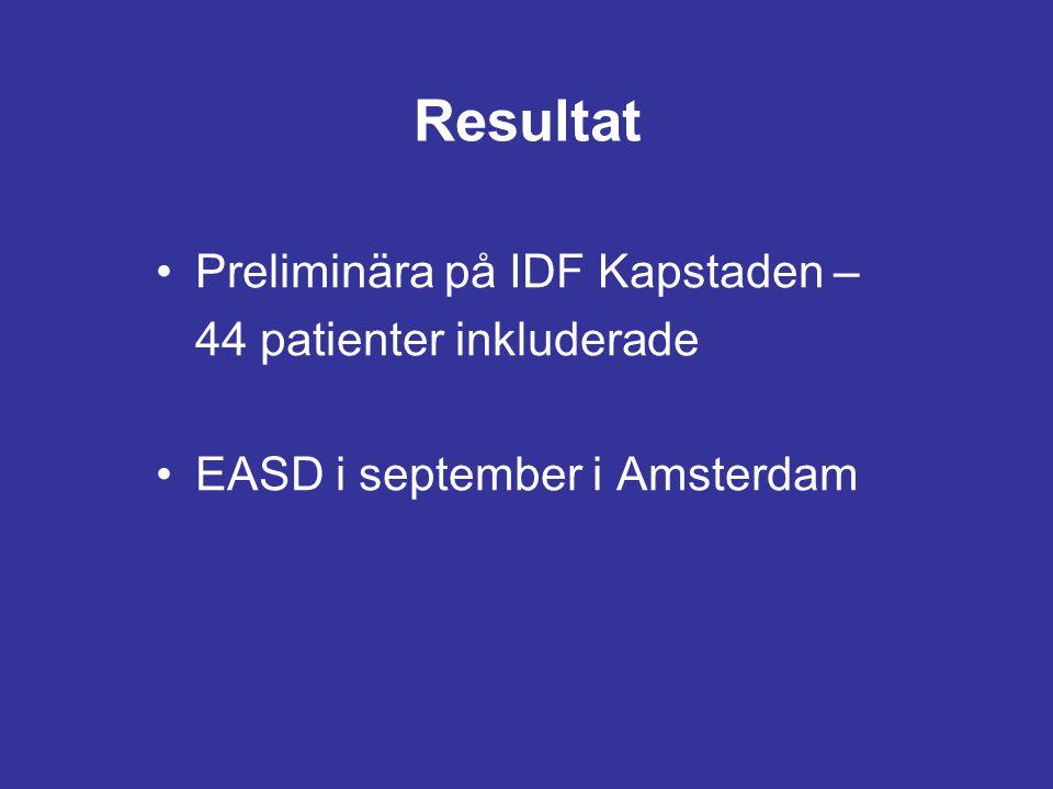Resultat Preliminära på IDF Kapstaden – 44 patienter inkluderade EASD i september i Amsterdam