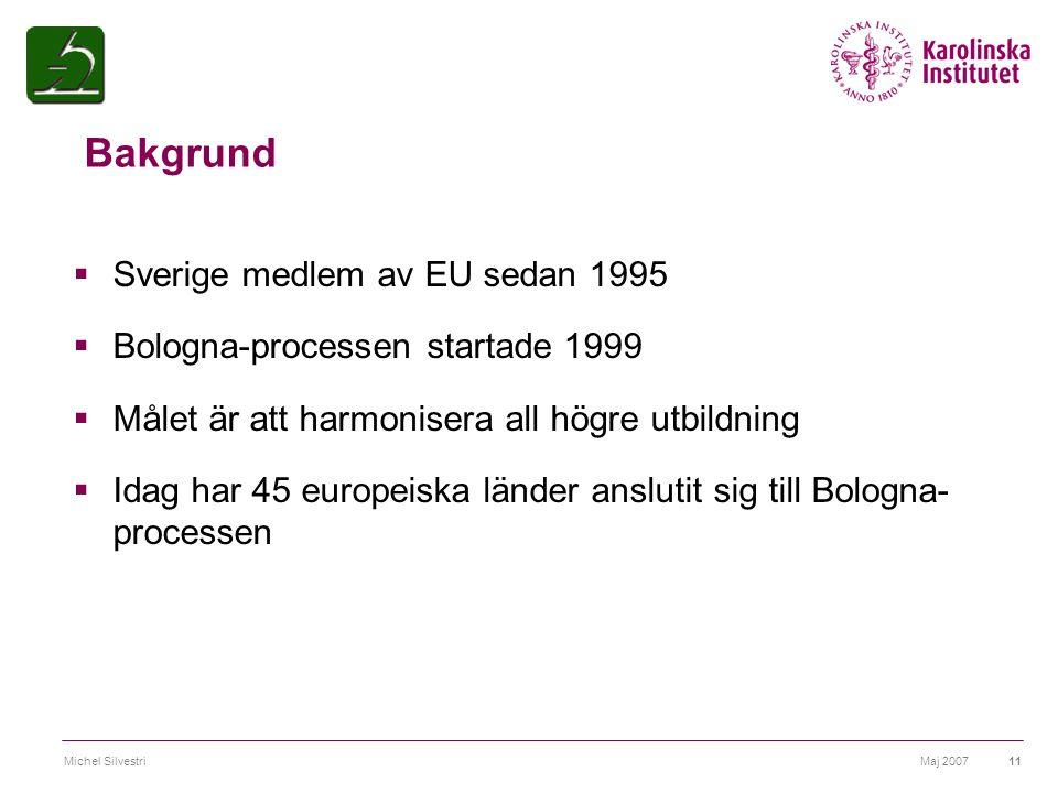 Maj 2007Michel Silvestri11 Bakgrund  Sverige medlem av EU sedan 1995  Bologna-processen startade 1999  Målet är att harmonisera all högre utbildnin