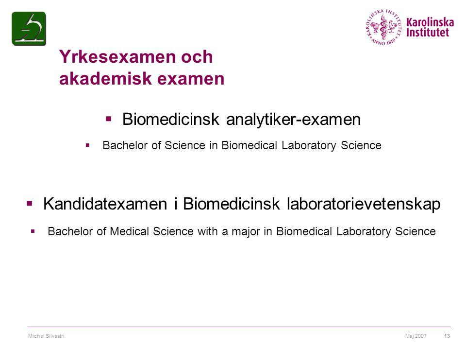 Maj 2007Michel Silvestri13 Yrkesexamen och akademisk examen  Biomedicinsk analytiker-examen  Bachelor of Science in Biomedical Laboratory Science 