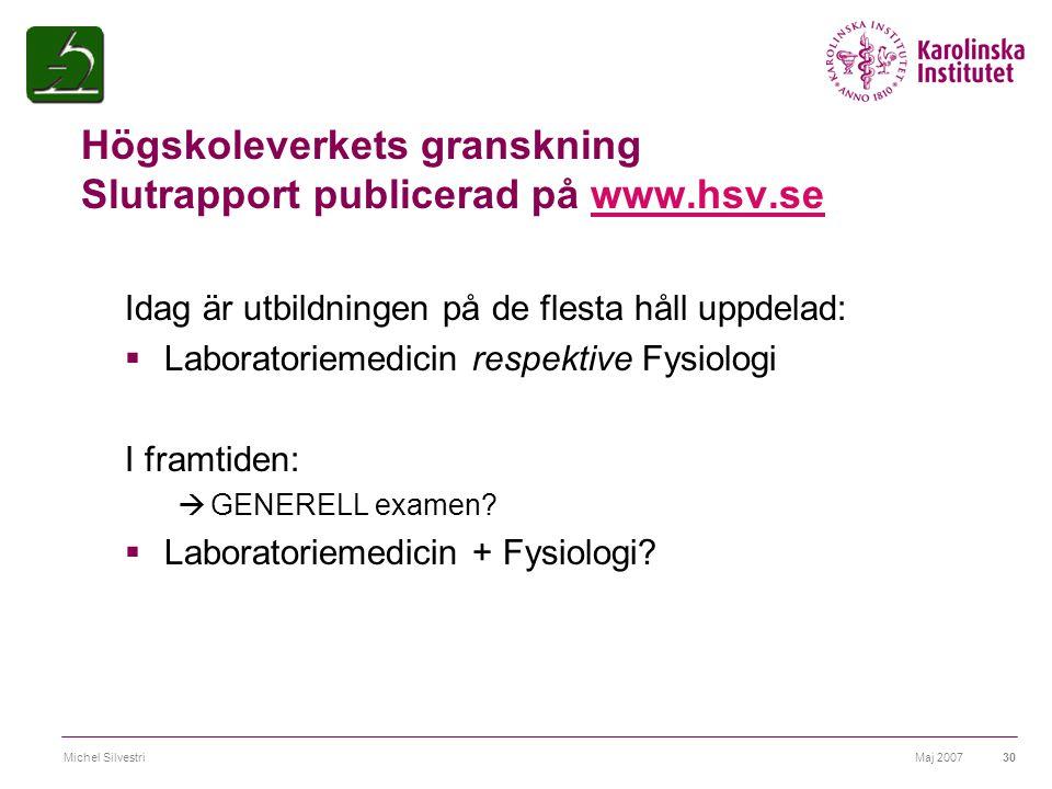 Maj 2007Michel Silvestri30 Högskoleverkets granskning Slutrapport publicerad på www.hsv.sewww.hsv.se Idag är utbildningen på de flesta håll uppdelad: