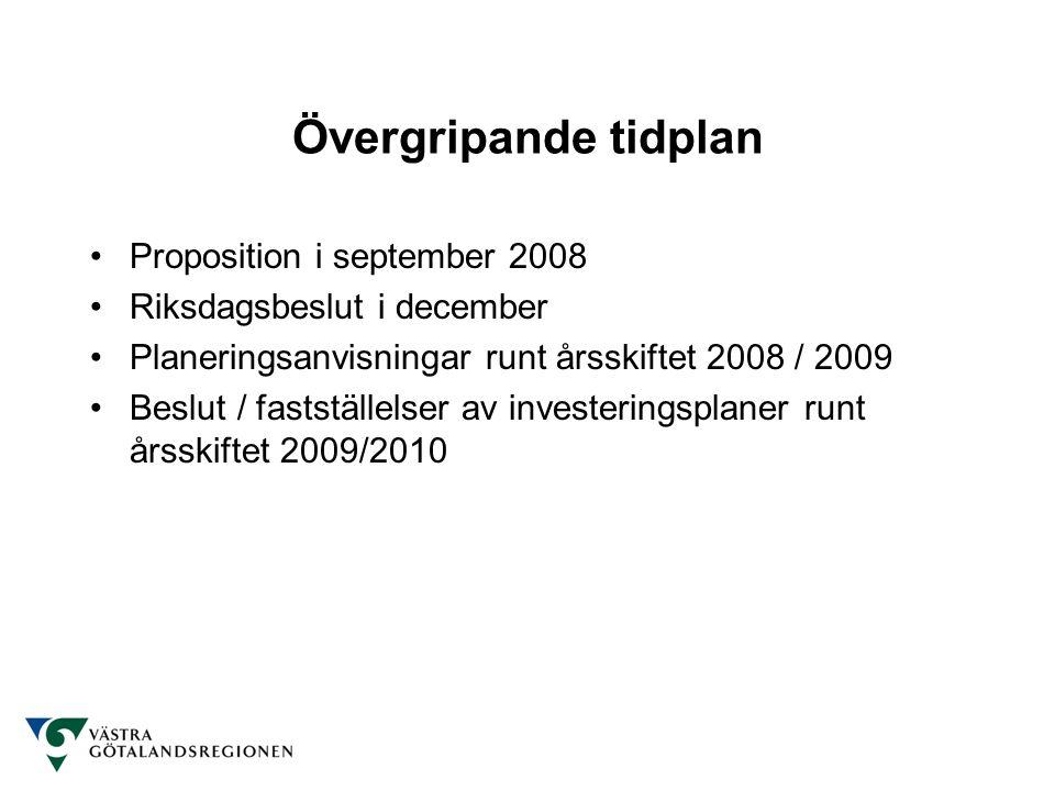 Övergripande tidplan Proposition i september 2008 Riksdagsbeslut i december Planeringsanvisningar runt årsskiftet 2008 / 2009 Beslut / fastställelser av investeringsplaner runt årsskiftet 2009/2010