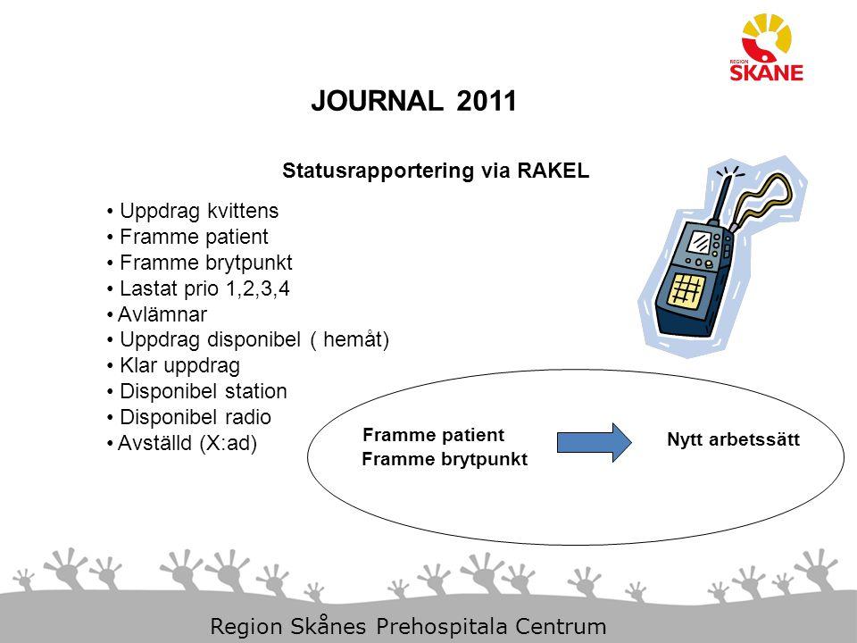 23-Aug-14 Slide 10 Region Skånes Prehospitala Centrum JOURNAL 2011 Statusrapportering via RAKEL Uppdrag kvittens Framme patient Framme brytpunkt Lasta