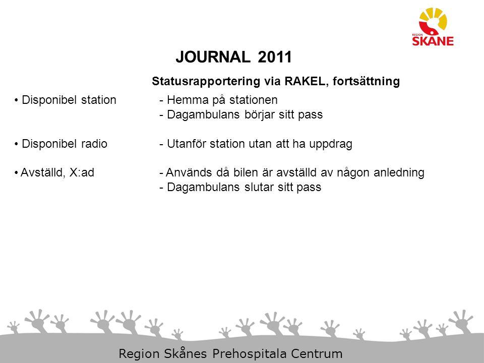 23-Aug-14 Slide 12 Region Skånes Prehospitala Centrum JOURNAL 2011 Statusrapportering via RAKEL, fortsättning Disponibel station - Hemma på stationen