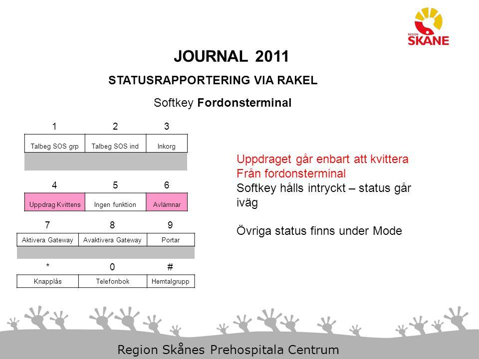 23-Aug-14 Slide 13 Region Skånes Prehospitala Centrum JOURNAL 2011 STATUSRAPPORTERING VIA RAKEL 123 Talbeg SOS grpTalbeg SOS indInkorg 456 Uppdrag Kvi