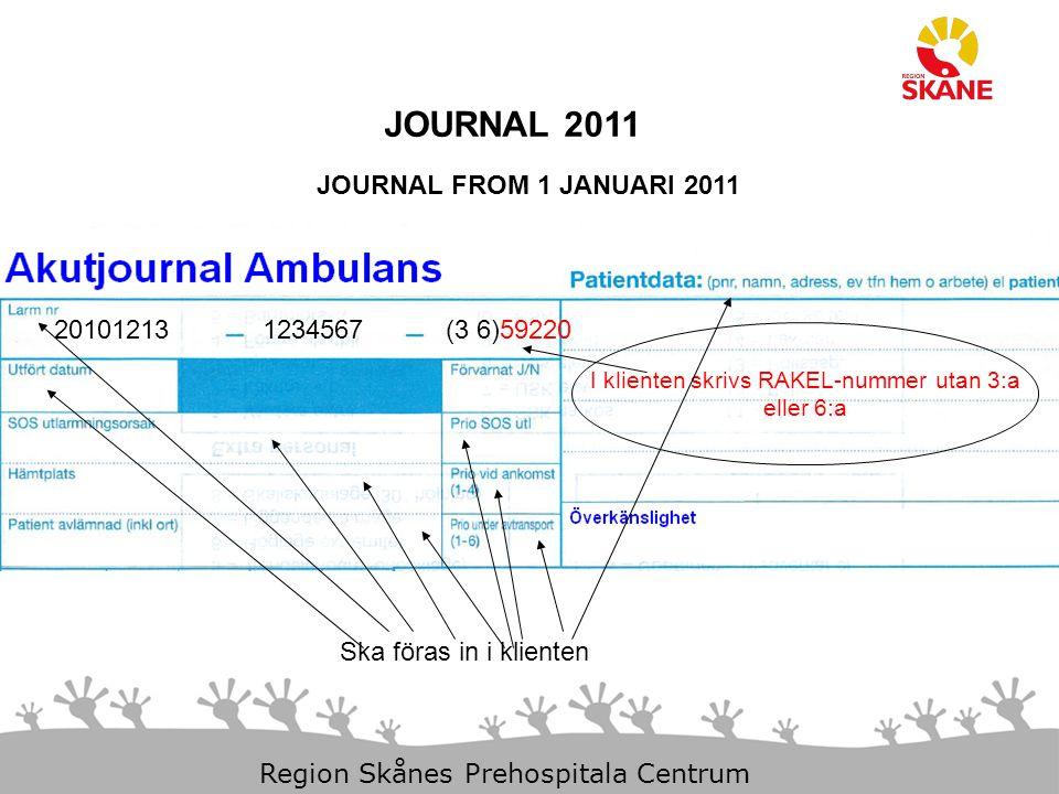 23-Aug-14 Slide 20 Region Skånes Prehospitala Centrum JOURNAL 2011 JOURNAL FROM 1 JANUARI 2011 201012131234567(3 6)59220 I klienten skrivs RAKEL-numme