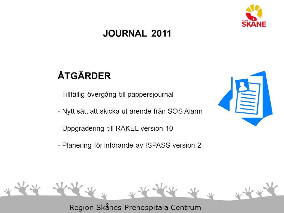 23-Aug-14 Slide 3 Region Skånes Prehospitala Centrum JOURNAL 2011 ÅTGÄRDER - Tillfällig övergång till pappersjournal - Nytt sätt att skicka ut ärende