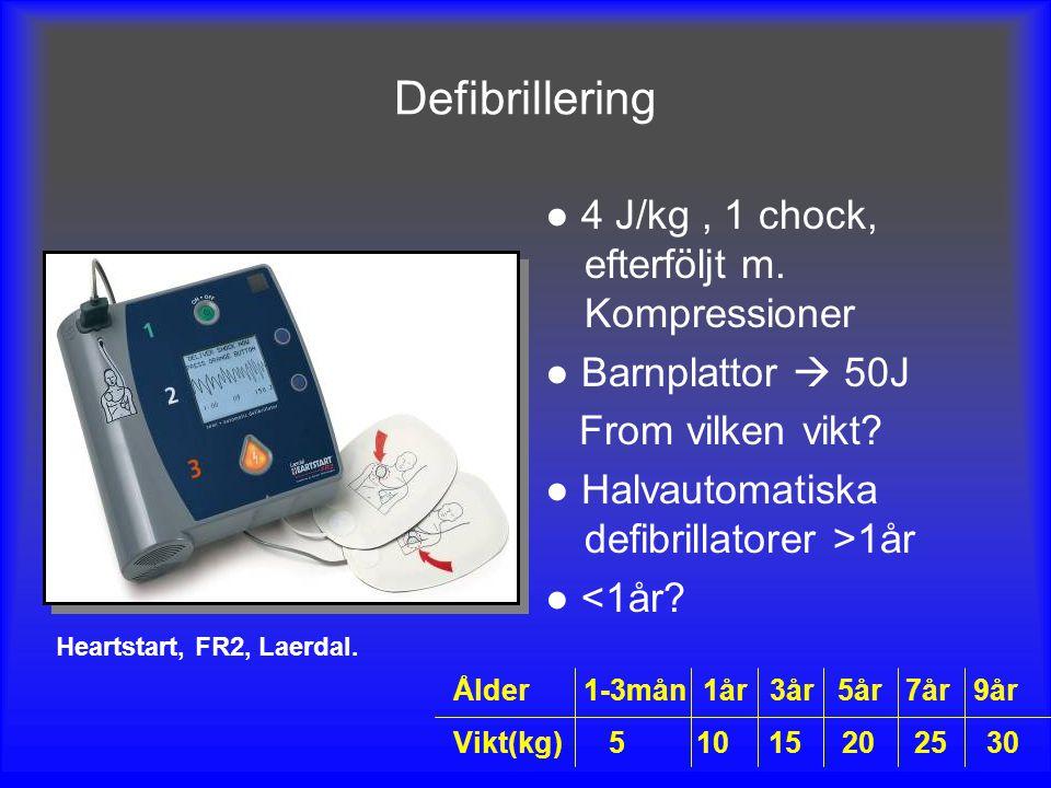 Defibrillering ● 4 J/kg, 1 chock, efterföljt m. Kompressioner ● Barnplattor  50J From vilken vikt? ● Halvautomatiska defibrillatorer >1år ● <1år? Hea