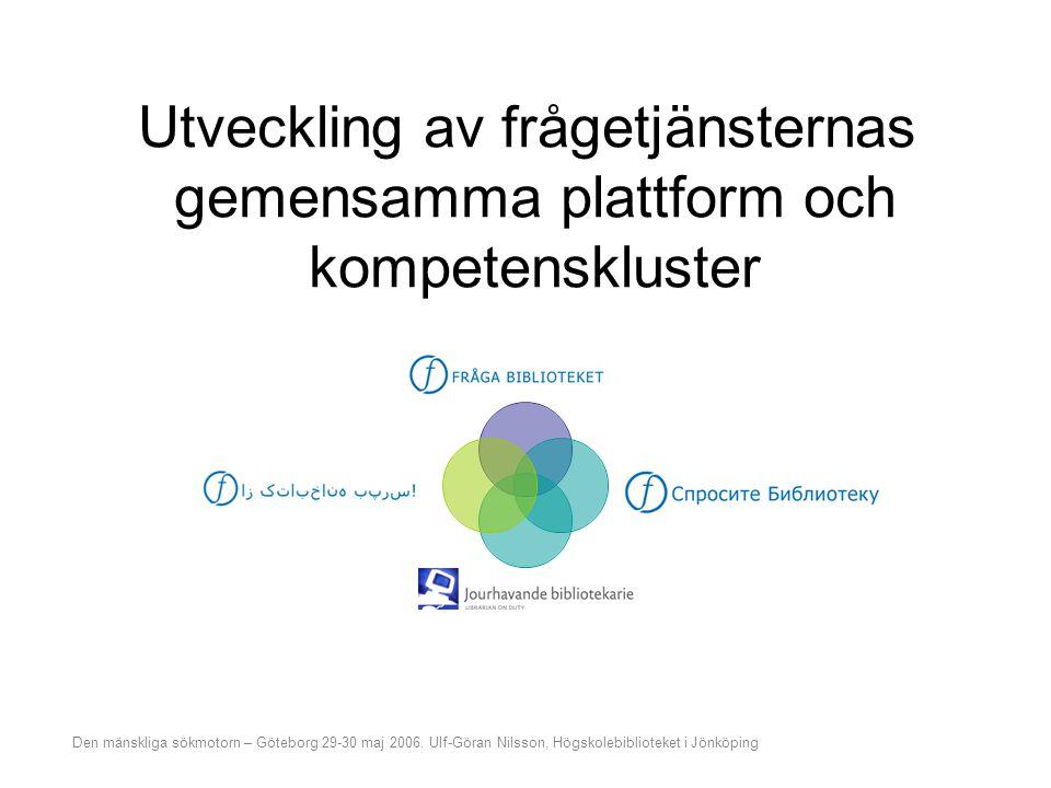 Utveckling av frågetjänsternas gemensamma plattform och kompetenskluster Vägen till systembryggan Några funderingar på vägen Utveckling av plattform och kompetenskluster Effekter Den mänskliga sökmotorn – Göteborg 29-30 maj 2006.