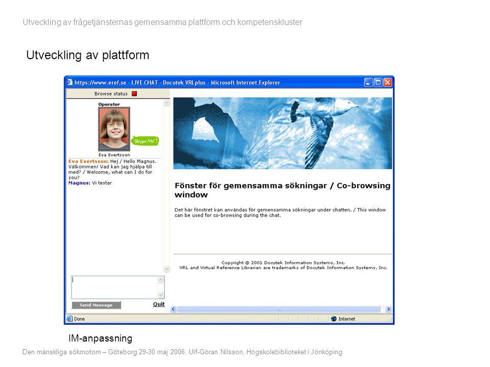 Utveckling av frågetjänsternas gemensamma plattform och kompetenskluster Den mänskliga sökmotorn – Göteborg 29-30 maj 2006.