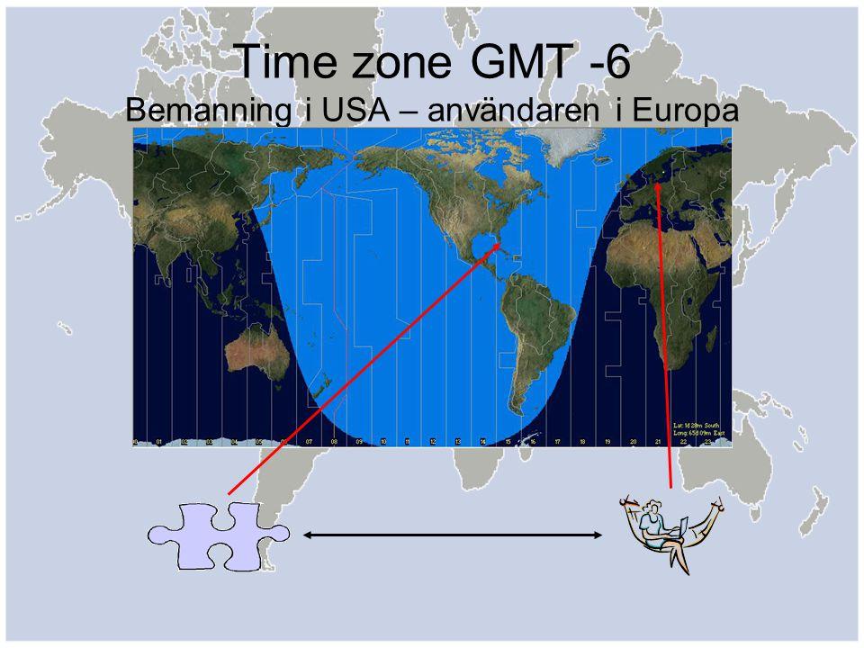 Time zone GMT -6 Bemanning i USA – användaren i Europa