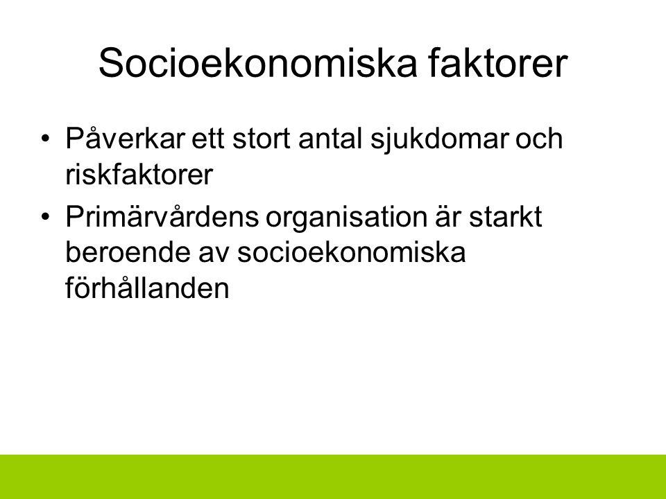 Socioekonomiska faktorer Påverkar ett stort antal sjukdomar och riskfaktorer Primärvårdens organisation är starkt beroende av socioekonomiska förhållanden