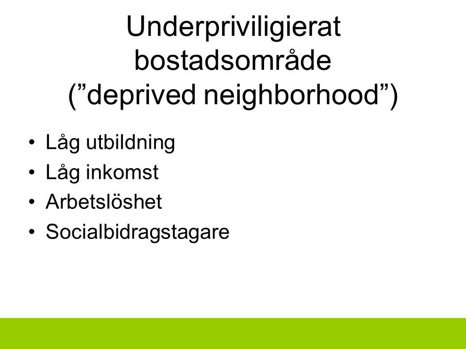 Underpriviligierat bostadsområde ( deprived neighborhood ) Låg utbildning Låg inkomst Arbetslöshet Socialbidragstagare