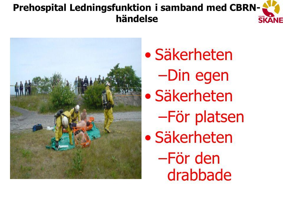 Säkerheten –Din egen Säkerheten –För platsen Säkerheten –För den drabbade Prehospital Ledningsfunktion i samband med CBRN- händelse
