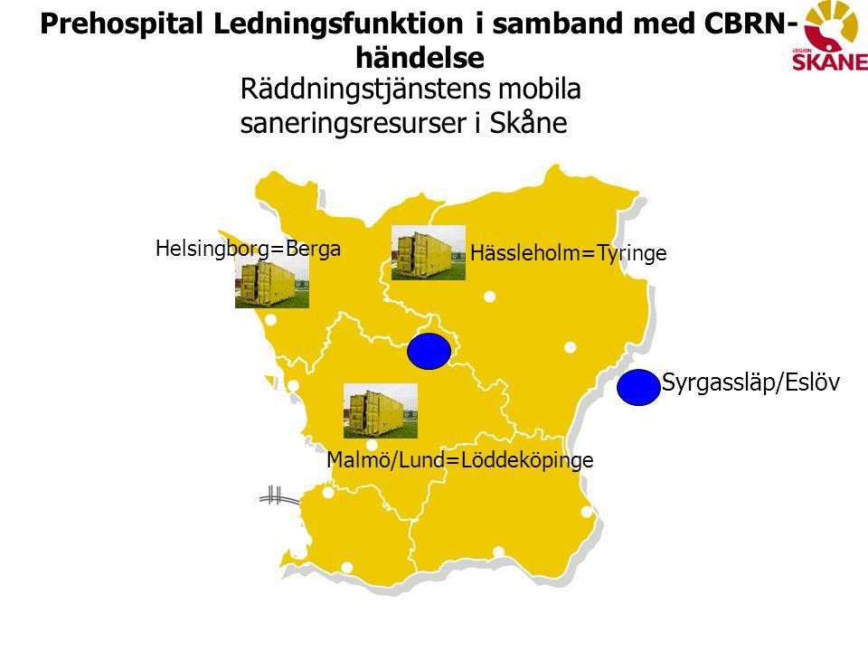 Malmö/Lund=Löddeköpinge Hässleholm=Tyringe Syrgassläp/Eslöv Räddningstjänstens mobila saneringsresurser i Skåne Prehospital Ledningsfunktion i samband med CBRN- händelse Helsingborg=Berga