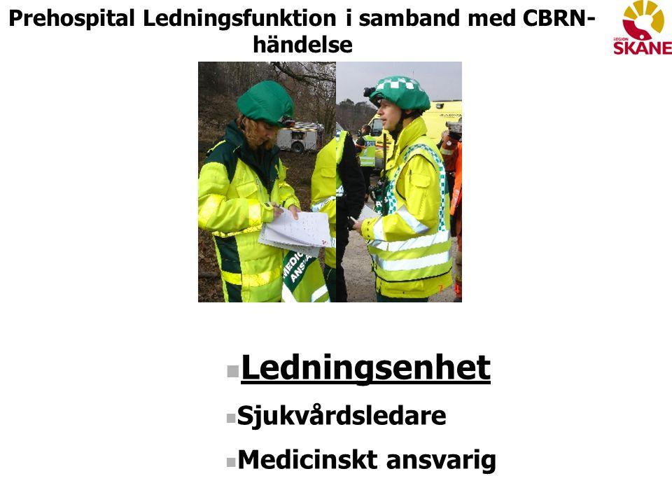 Ledningsenhet Sjukvårdsledare Medicinskt ansvarig Prehospital Ledningsfunktion i samband med CBRN- händelse
