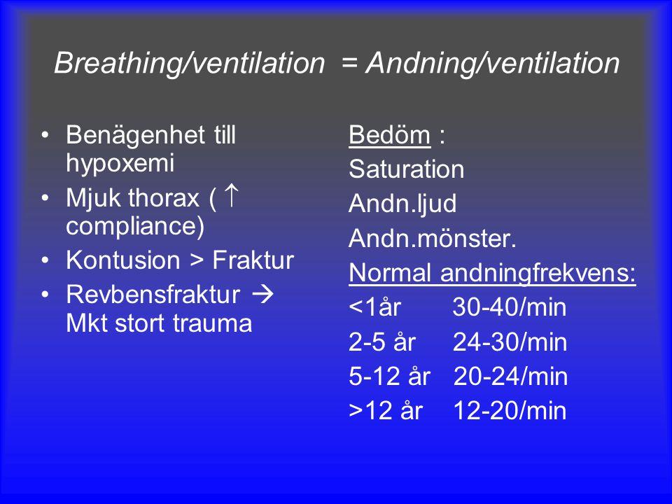 Breathing/ventilation = Andning/ventilation Benägenhet till hypoxemi Mjuk thorax (  compliance) Kontusion > Fraktur Revbensfraktur  Mkt stort trauma