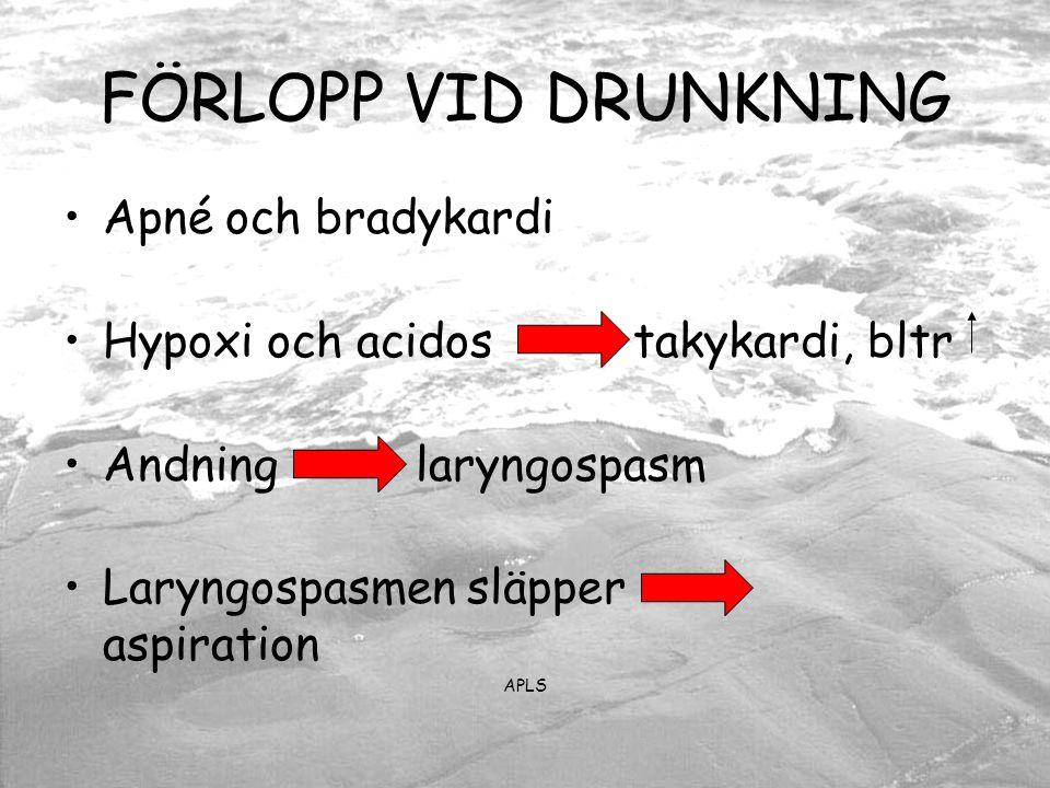 FÖRLOPP VID DRUNKNING Apné och bradykardi Hypoxi och acidos takykardi, bltr Andning laryngospasm Laryngospasmen släpper aspiration APLS