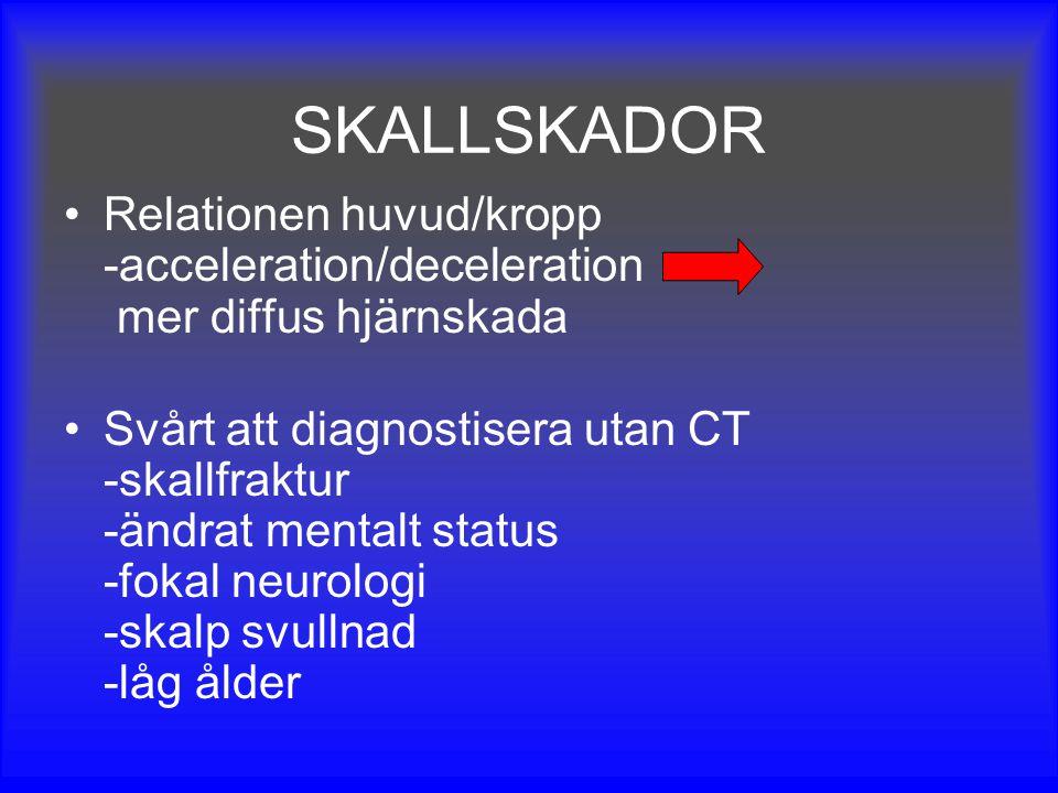 SKALLSKADOR Relationen huvud/kropp -acceleration/deceleration mer diffus hjärnskada Svårt att diagnostisera utan CT -skallfraktur -ändrat mentalt stat