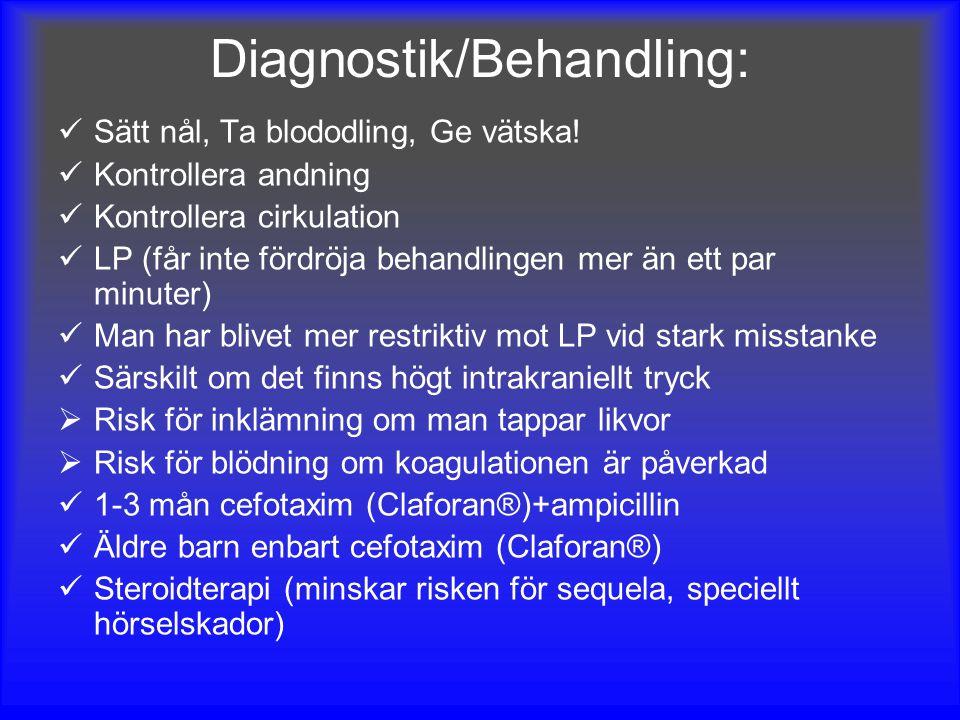 Diagnostik/Behandling: Sätt nål, Ta blododling, Ge vätska! Kontrollera andning Kontrollera cirkulation LP (får inte fördröja behandlingen mer än ett p
