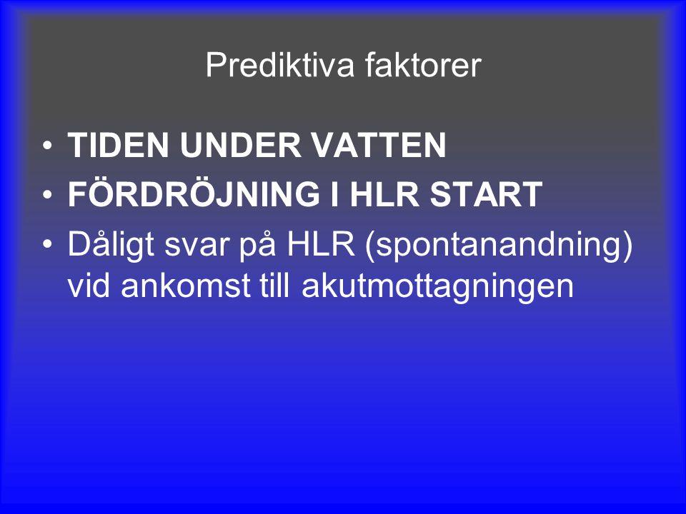 Prediktiva faktorer TIDEN UNDER VATTEN FÖRDRÖJNING I HLR START Dåligt svar på HLR (spontanandning) vid ankomst till akutmottagningen